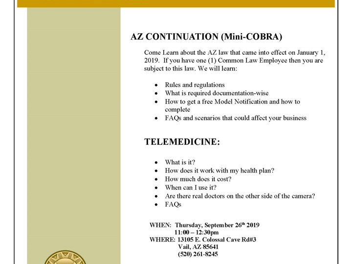 AZ Mini-COBRA & Telemedicine Lunch & Learn